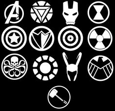 Marvel Avengers Symbols Vinyl Car Decal by WibblyWobblyThings on Etsy