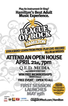 In Hamilton Ontario. Mark April on your calendar. At QED Media, 205 Cannon St. Live Music, Good Music, Hamilton Ontario, Cannon, Open House, Singing, Calendar, 21st, Rock