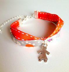 French Fabric Children Wrap Bracelet with Little Girl Charm - Very Parisian. $15.00, via Etsy.