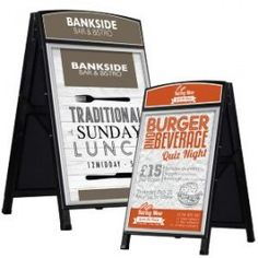 A large range of Pavement Signs and Advertising A Boards. Includes A Frames, Swingers, Chalk Boards and Forecourt Signs in a variety of sizes and shapes to suit all situations. Exhibition Display, Advertising Signs, Pavement, Boards, Frame, Expo Stand, Planks, Picture Frame, A Frame Signs