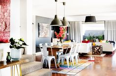 Neutral furniture with pops of bright colored accents