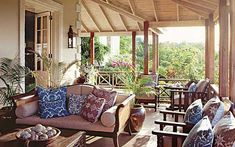 Grant White created an outdoor room for living with British Colonial elan on the upper veranda of home in Mustique. Photo by Tim Beddow for Architectural Digest. Architectural Digest, Architectural Features, Outdoor Rooms, Outdoor Living, Outdoor Couch, Patio Design, House Design, British Colonial Decor, Colonial India