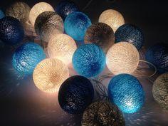 20 coton ball guirlandes, patio de mariage suspendus lumières, guirlandes d'intérieur, Chambre guirlandes, partie jardins lampes, lumières de Noël.