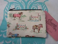 Handmade Coin Purse Cath Kidston Pony Fabric Horses Makeup Bag Pouch Clutch Pink