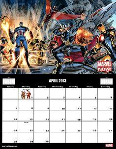 ✭ marvel 2013 calendar - april