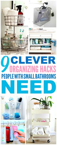 These 9 small bathroom organization hacks are THE BEST! I'm so glad I found these AWESOME tips! Now I have some great ways to organize my bathroom and make it feel bigger! Definitely pinning!
