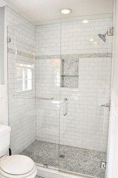 Traditional 3/4 Bathroom with Floor to ceiling shower tile, Ann sacks statuary classic stacked, frameless showerdoor