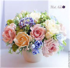 Купить Букет Северное сияние - розы, фрезия, букет цветов, голубой, кремовый, айвори