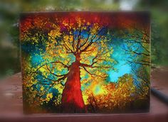 tree art, wood mounted, Larger 16x20 Autumn trees trees Night sky by dahliahousestudios, $119.00