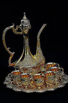 Turkish Islamic Gold Metal Coffee Tea Water Set Pot Cup Arabic Arabian RRP £150