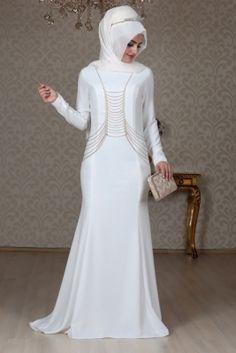 Sema Şimşek Beyaz Zincirli Tesettür Abiye Elbise