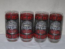 Vintage Set 4 Coca Cola Coke Stained Glass Tumblers Drinking Glasses