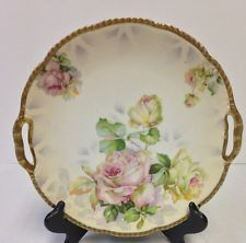 """Antique ROYAL RUDOLSTADT Prussia Cake Plate Charger 10 1/4"""" RARE"""