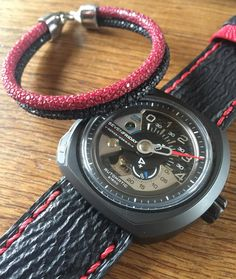 #Sevenfriday V3 on our black shark with red stitch strap teamed with @semperfortis_official black & red sting bracelet  by timequarterly