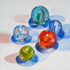 "Glass Marble Art, Original Painting, ""Marble Huddle,"" Acrylic on Canvas, 9 x 9 in. by Heather McCaw. $80.00, via Etsy."