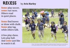 """Time to play? Kick things off with this poem about """"Recess"""" by Avis Harley from THE POETRY FRIDAY ANTHOLOGY® FOR K-5 edited by Sylvia Vardell and Janet Wong (Pomelo Books, 2012)"""