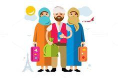 Refugee migrants family. Islamic Icons. $6.00