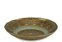 """Halkett Glass Bowl, $22.  An opulent graphic motif defines the glass Halkett bowl with a worldly chic.  This bowl could be part of your perfect entry decor.  3.25""""H x 15.75""""D"""