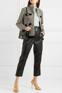 Black and off-white wool-blend, black velvet Button fastenings through front wool, cotton, polyamide; Fashion Pants, Look Fashion, Fashion Outfits, Mode Ulzzang, Lawyer Fashion, Gucci Outfits, Houndstooth Jacket, Oversized Jacket, Style Retro