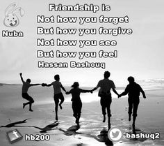 friendship is  not how you forget  but how you forgive not how you see  but how you feel