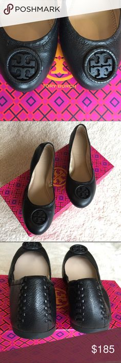 "NIB: Tory Burch ""Allie"" Ballet Flats, sz 6.5 NIB: Authentic Tory Burch ""Allie"" Ballet Flats in black leather exterior and tan leather interior with a wrapped logo medallion and rows of tonal topstitching at the heels. This includes a Tory Burch box (though not the matching box) but no dustbag. Size: 6.5 Tory Burch Shoes Flats & Loafers"
