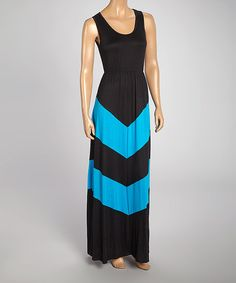 Turquoise & Black Chevron Stripe Dress