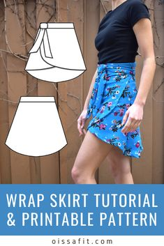 Learn how to assemble a printable pattern and construct this flattering wrap skirt! This project is perfect for beginners and sewists of all levels. Skirt Pattern Free, Crochet Wrap Pattern, Skirt Patterns Sewing, Clothing Patterns, Wrap Skirt Patterns, Diy Dress, Dress Sewing, Sewing Clothes, Diy Clothes