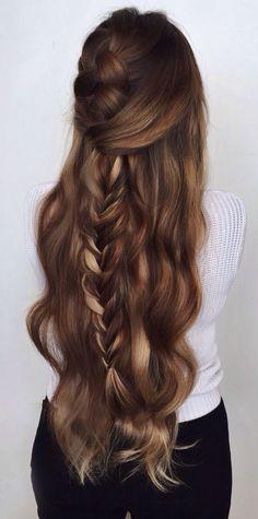 Balayage wavy half up braid #gorgeoushair