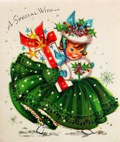 Free Christmas Girl in the green dress Vintage Christmas Images, Old Christmas, Old Fashioned Christmas, Christmas Scenes, Retro Christmas, Vintage Holiday, Christmas Pictures, Vintage Images, Christmas Girls