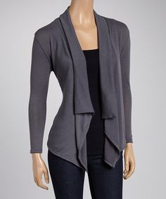 Look what I found on #zulily! Charcoal Lace Open Cardigan #zulilyfinds