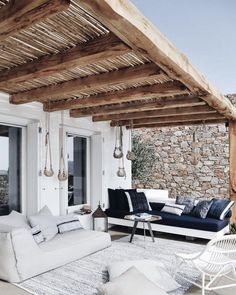 Lazy outdoor back porch, rustic beam and rock wall envy. Image via The post Lazy outdoor back porch, rustic beam and rock wall envy. Image via appeared first on BlinkBox. Outdoor Living Space, Outdoor Decor, Spanish Style Homes, Exterior Design, Outdoor Space, Home, Outdoor Design, Outdoor Spaces, Outdoor Living