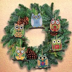 JANLYNN-Sewing Ornaments Count Cross Stitch Kit. This set will allow you to create six beautiful ornaments that will look great on any Christmas tree. This package contains one 14-count aida fabric, s