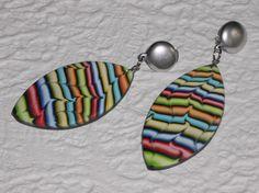Ohrclips - Ohrclips Navette bunt Streifen - ein Designerstück von iCo-Design bei DaWanda
