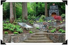 Backyard Hillside sloping Landscaping  gardens  beautiful stone work and steps