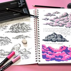 """Aliki Karkoulia on Instagram: """"Did some cloud studies today ☁"""" Posca Marker, Marker Art, Marker Drawings, Pencil Sketch Drawing, Drawing Ideas, Drawing Tips, Posca Art, Arte Sketchbook, Sketchbook Inspiration"""