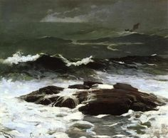 """""""Summer Squall,"""" Winslow Homer, oil on canvas, 24 x 30 The Clark Art Institute. Winslow Homer Paintings, Oil On Canvas, Canvas Art, Big Canvas, Clark Art, Illustrations, Gravure, American Artists, American Realism"""