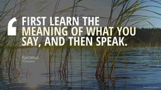 FIRST LEARN THE MEANING OF WHAT YOU SAY, AND THEN SPEAK. Epictetus,  Philosopher