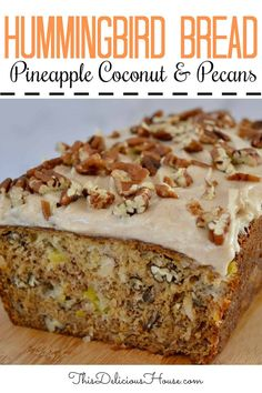 Hummingbird Bread Cream Cheese Frosting – This Delicious House Moist and delicious Hummingbird Bread is a simple take on the Hummingbird Cake recipe. Made with mashed bananas, pineapple, coconut, pecans, and cream cheese frosting. Hummingbird Bread Recipe, Baking Recipes, Dessert Recipes, Dessert Bread, Breakfast Recipes, Dinner Recipes, Banana Madura, Coconut Pecan, Coconut Flour