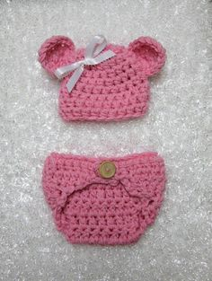 Pink Teddy Bear Hat & Diaper cover set