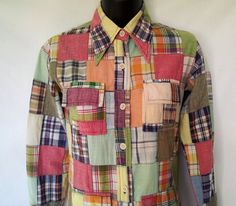 1970s Patchwork Shirt Made in India Kavita Cotton Extra by Joyatri