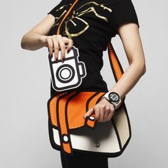 JumpFromPaper handbag - it's a real bag made to look like a cartoon! And it's orange! LOVE.