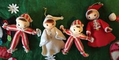 A personal favorite from my Etsy shop https://www.etsy.com/listing/259345860/set-of-four-mid-century-cloth-ornaments