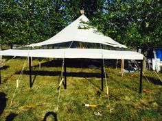 This traditional canvas vintage style marquee has a canopy in it. There is also a skylight panel allowing light through it and offers a roof window effect. Incredible at night.