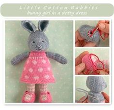 knit a cute girl bunny for Easter - retail pattern from little cotton rabbits (boy pattern also available)