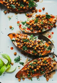 Stuffed + sauced sweet potatoes with ginger lime tahini - the first mess # vegan Vegan Recipes Videos, Vegan Dinner Recipes, Vegan Recipes Easy, Sweet Potato Recipes Healthy, Healthy Food List, Vegan Food, Vegan Main Course, Crockpot, Dog Treat Recipes