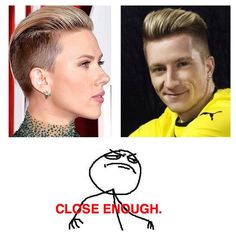 Marco Reus & Scarlett Johansson probably going to the same hair salon