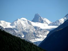 View from the terrace of the Hotel Bella Tola in St-Luc in the Val d'Anniviers