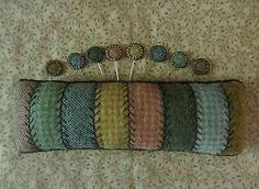 Primitive Hand Dyed Wool Pincushion~Big Embroidered Pinkeep+Penny Pins *USAPRIM*