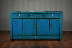 Antique Indigo Chinese Buffet by Mecox Gardens. Shop online for home furniture and custom designs. Vintage Furniture Design, Antique Furniture, Online Furniture, Home Furniture, Buffet, Antique Shelves, Indigo Colour, Turquoise, Decoration