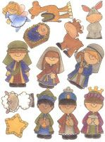 The Nativity - glue these to magnet sheets and cut them out - or Great inexpensive gift!